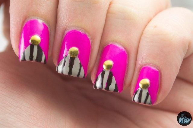 nails, nail art, nail polish, polish, tri polish challenge, tpc, pink, brown, grey, stripes, studs,