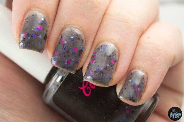 coated in polish, indie, indie polish, hey darling polish, swatching, slumber party, grey, glitter, crelly