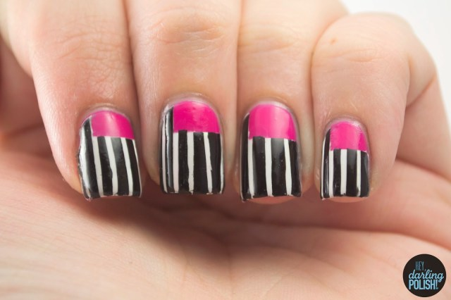 nails, nail art, nail polish, polish, pink, black, white, stripes, hey darling polish, sick of sarah, music monday