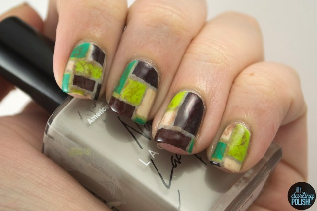 nails, nail polish, nail art, polish, color block, green, brown, white picket fence, you get me high, hey darling polish