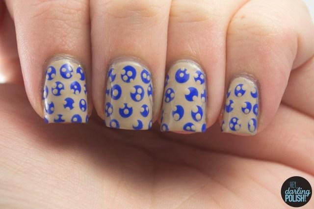 nails, nail art, nail polish, polka dots, dots, blue, neutral, pattern, hey darling polish