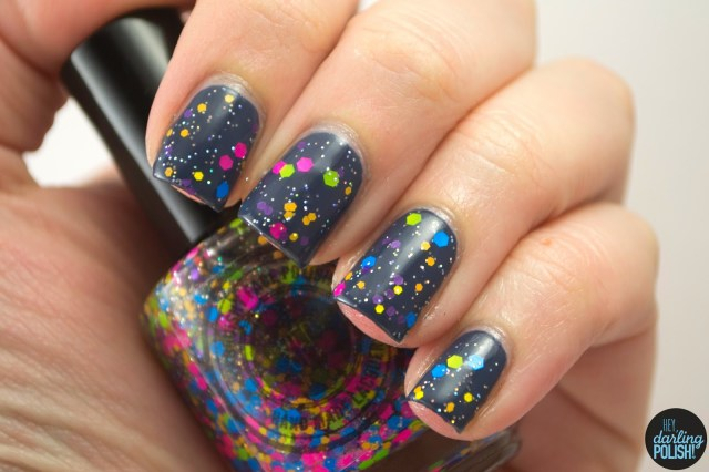 nails, nail polish, indie, indie polish, electric avenue, squishy face polish, hey darling polish, glitter, neon,