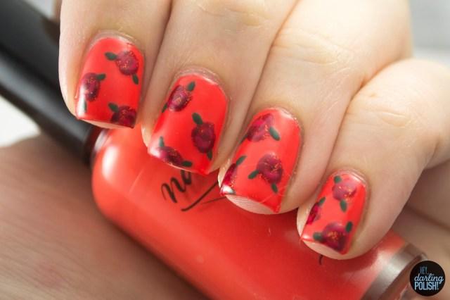 nails, nail art, nail polish, polish, flowers, roses, theme buffet, hey darling polish, red, orange