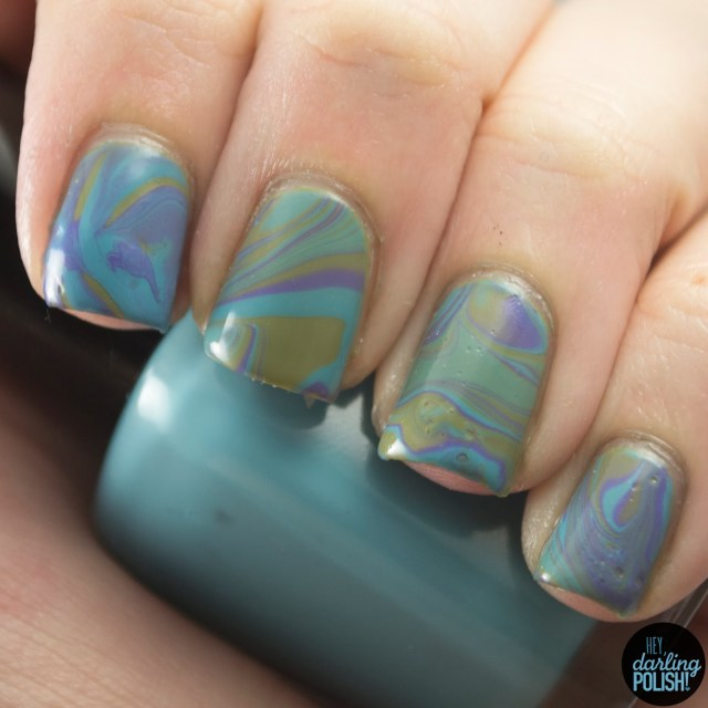 nails, nail art, nail polish, polish, green, blue, purple, hey darling polish, water marble, tri polish challenge, tpc