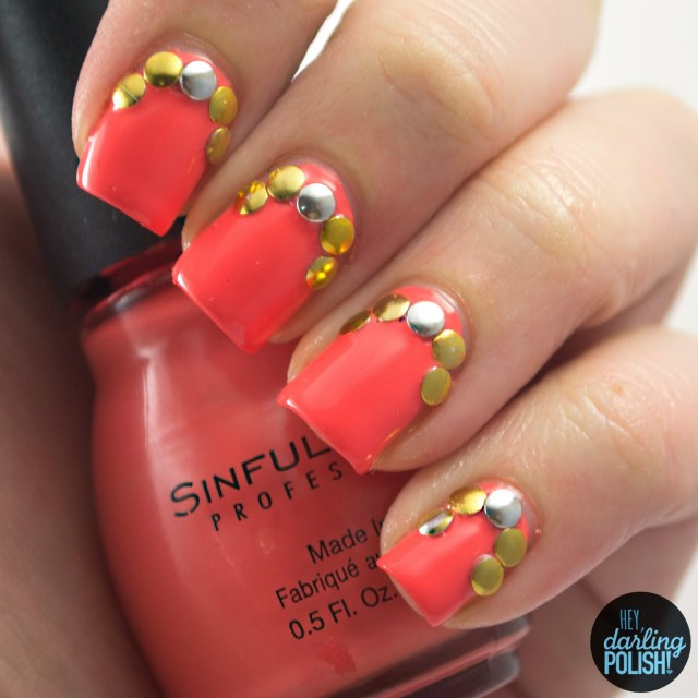 nails, nail art, nail polish, polish, coral, golden oldie thursdays, got, hey darling polish, studs, sinful colors hazard