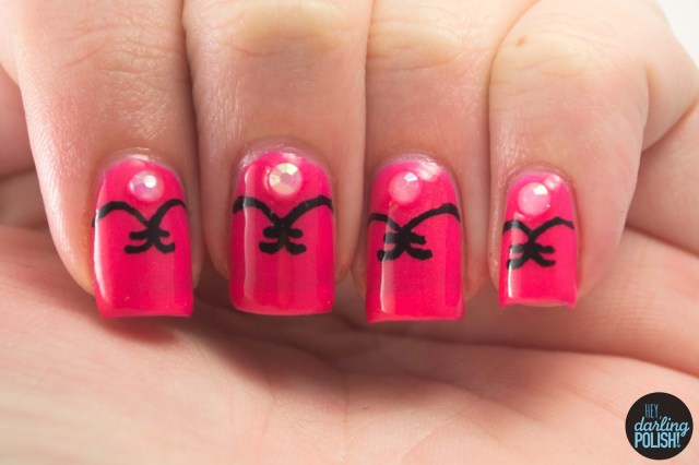 nails, nail art, nail polish, polish, hot pink, pink, hey darling polish, acrylic paint, golden oldie thursdays