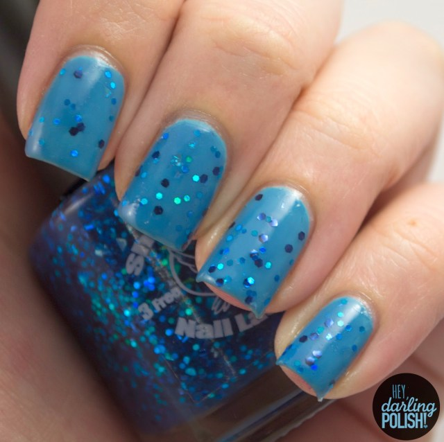 drewbie, nails, nail polish, polish, indie, indie polish, indie nail polish, shirley ann nail lacquer, glitter, blue, hey darling polish
