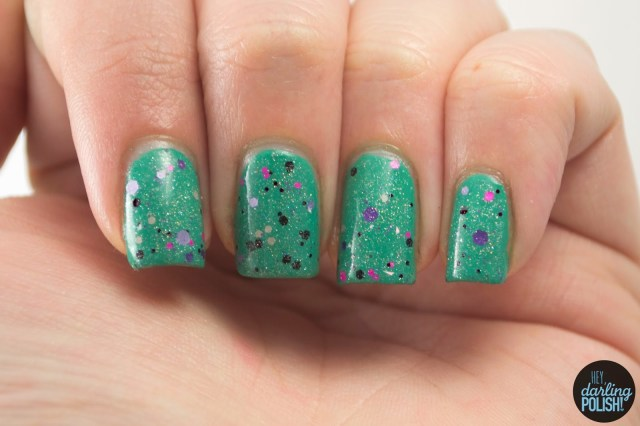 posies and peonies, pink, purple, black, holo, nails, nail polish, polish, indie, indie polish, indie nail polish, glitter, shirley ann nail lacquer, hey darling polish, swatch