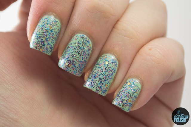when the ball drops, pink, blue, gold, green, nails, nail polish, polish, indie, indie polish, indie nail polish, glitter, shirley ann nail lacquer, hey darling polish, swatch