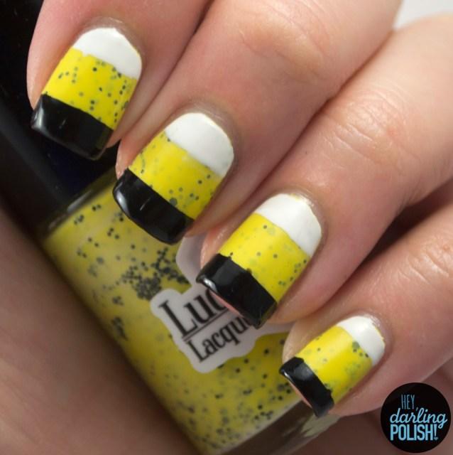 nails, nail art, nail polish, polish, yellow, black, white, glitter, indie, indie polish, indie nail polish, lucky 13 lacquer, the never ending pile challenge, hey darling polish