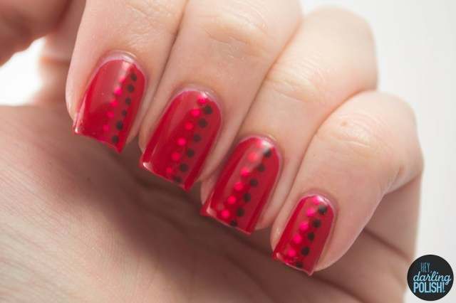 nails, nail art, nail polish, polish, red, jelly, hey darling polish, the never ending pile challenge, dots