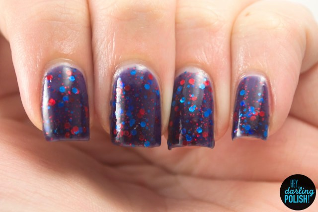 sourwolf, red, blue, nails, nail polish, polish, indie, indie polish, indie nail polish, purple, glitter, glitter crelliy, a study in polish, hey darling polish