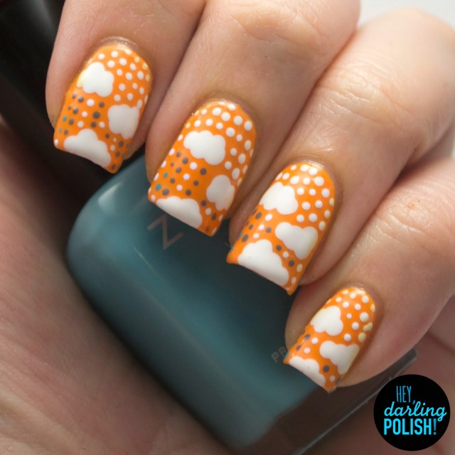 nails, nail art, nail polish, polish, clouds, dots, yellow, white, hey darling polish, n.a.i.l.,