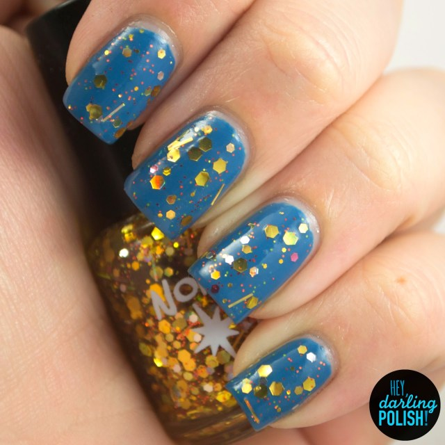 gold, sunburst, blue, nails, nail polish, polish, indie, indie polish, indie nail polish, glitter, swatch, hey darling polish, northern star polish