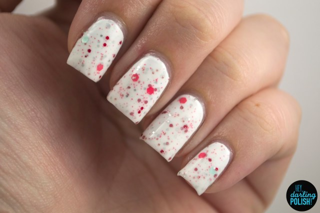 white, red, wuv twoo wuv, nails. nail polish, polish, indie, indie polish, indie nail polish, northern star polish, hey darling polish, glitter, indie fridays