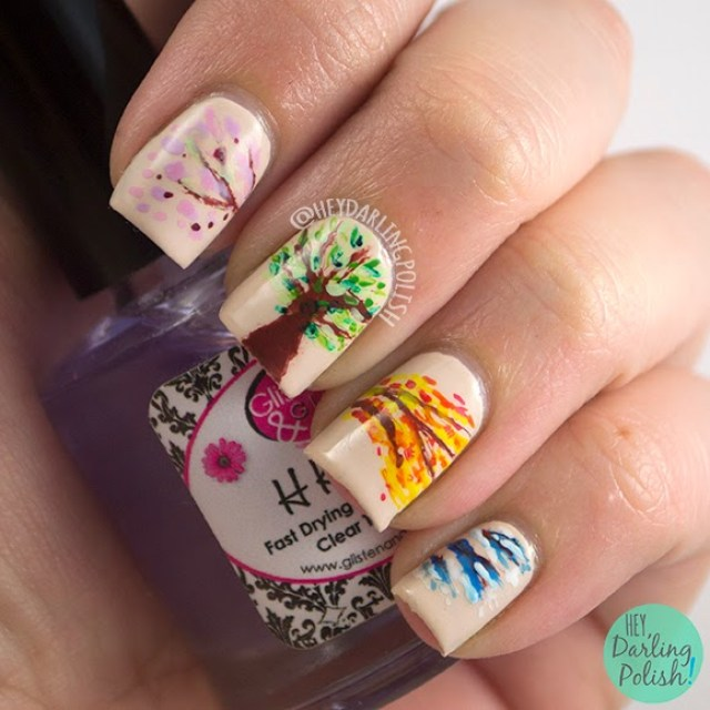 nails, nail art, nail polish, seasons, tree, hey darling polish, theme buffet, free hand,