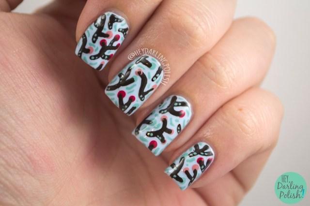nails, nail art, nail polish, polish, sea coral, pattern, theme buffet, hey darling polish
