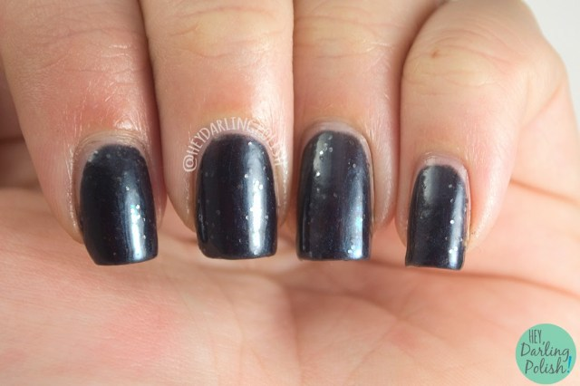 black, summer nights, silver, nails, nail polish, polish, indie, indie polish, hey darling polish, love-a-bull lacquer,