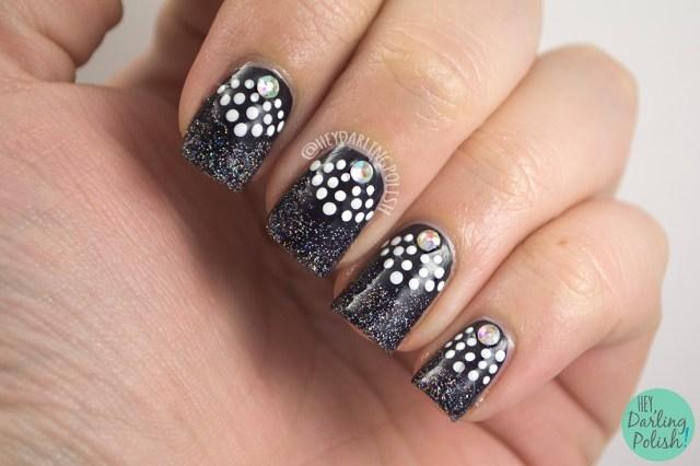 nails, nail art, nail polish, polish, black, white, glitter, fairy dust, rhinestones, the nail challenge collaborative, hey darling polish