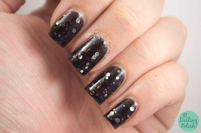 black, drop your sword,  nails, nail polish, polish, indie, indie polish, northern star polish, glitter, swatch, hey darling polish,