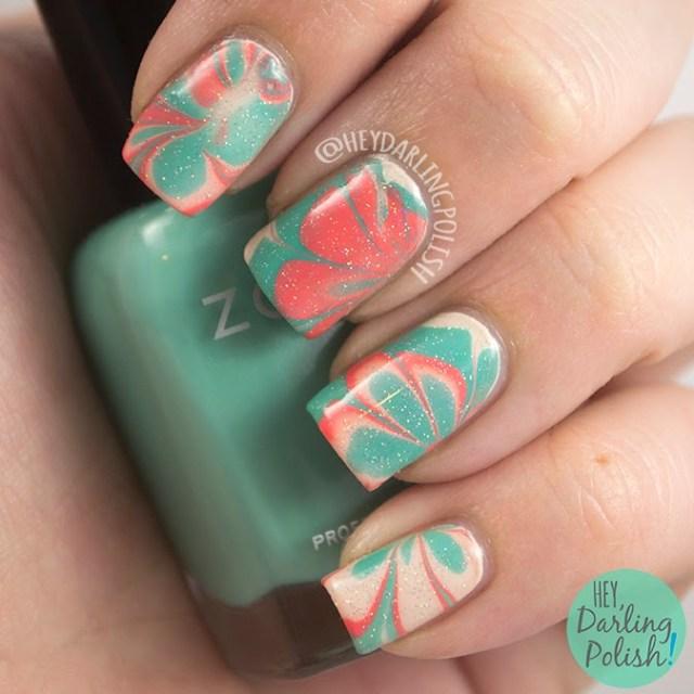 nails, nail art, nail polish, watermarble, tri polish challenge, hey darling polish