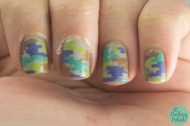 nails, nail art, nail polish, abstract, hey darling polish, camo, camo nails, oh mon dieu part deux