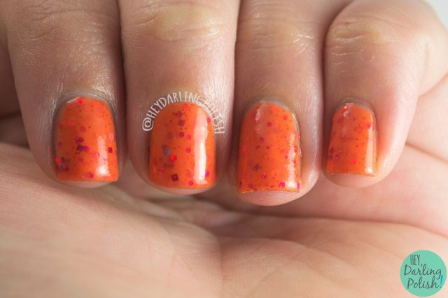 nails, nail polish, orange, indie polish, bliss polish, swatch, hey darling polish, sunset