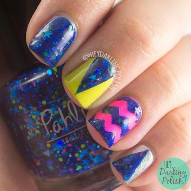 nails, nail art, nail polish, indie, indie polish, pahlish, pink, green, silver, blue, hey darling polish, glitter, triangles, chevrons, theme buffet
