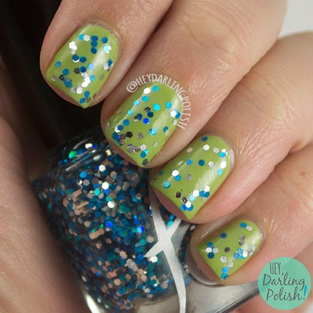 allons-y, 10th doctor, green, nails, nail polish, indie polish, indie nail polish, glitter, hey darling polish, fandom cosmetics, doctor who,