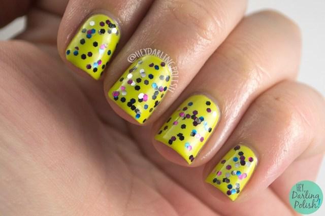 don't skip nine, nails, nail polish, indie polish, swatch, fandom cosmetics, hey darling polish, swatch, doctor who, glitter,