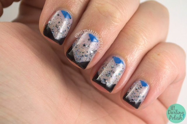 nails, nail art, nail polish, 365 days of color the diary, chevron, glitter, indie polish, blue, black, hey darling polish, oh mon dieu part deux