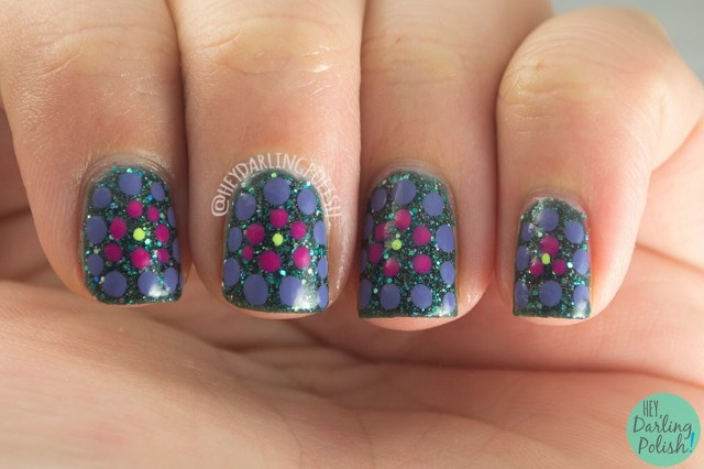 nails, nail art, nail polish, green, purple, pink, pipe dream polish green light, indie polish, hey darling polish, tri polish challenge