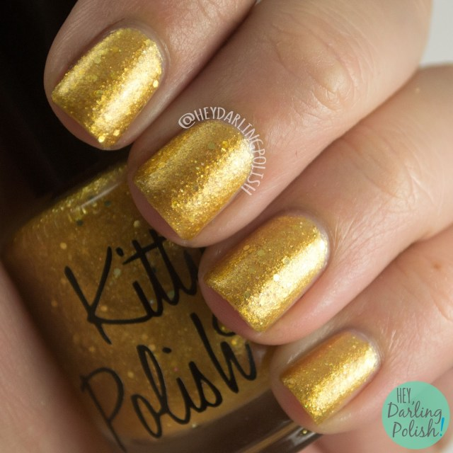 nails, indie polish, indie, kitty polish, swatch, hey darling polish, gold, 24, glitter,