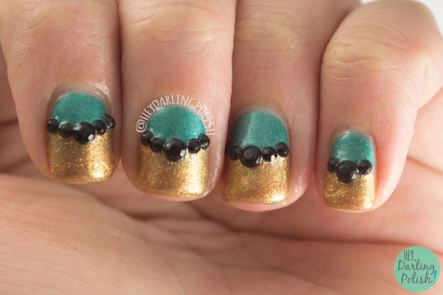 nails, nail art, teal, copper, rhinestones, half moon, bff, my 2 cents, kitty polish, hey darling polish
