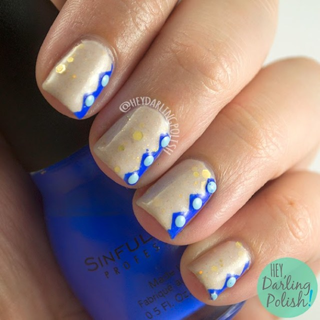 nails, nail art, lucky 13 lacquer, golden snitch, blue, zig zag, studs, hey darling polish, nail polish, indie polish, oh mon dieu part deux