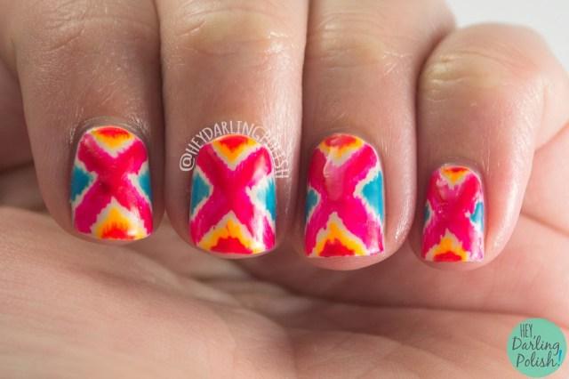 nails, nail art, nail polish, bright, tribal, pattern, hey darling polish, pink, blue, orange, oh mon dieu