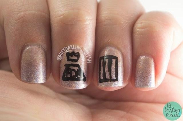 nails, nail art, nail polish, paramore, fall out boy, hey darling polish, holo, oh mon dieu part deux