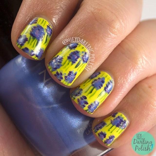 nails, nail art, nail polish, lavander, yellow, pattern, oh mon dieu, hey darling polish, free hand
