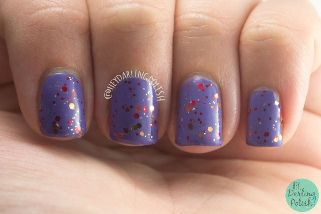purple, glitter, falling leaves, autumn, hey darling polish, amazing chic nails, swatch, review, nails, nail polish, indie, indie polish, indie nail polish