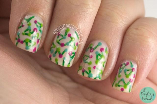 nails, nail art, nail polish, science, molecules, theme buffer, dots, hey darling polish