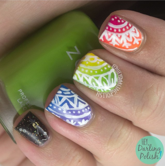nails, nail art, nail polish, rainbow, glitter, indie polish, hey darling polish, 31 day challenge, 31dc2014, tribal