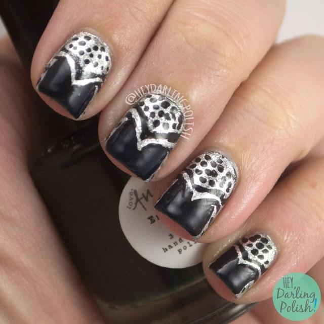 nails, nail art, nail polish, art deco, hey darling polish, theme buffet,