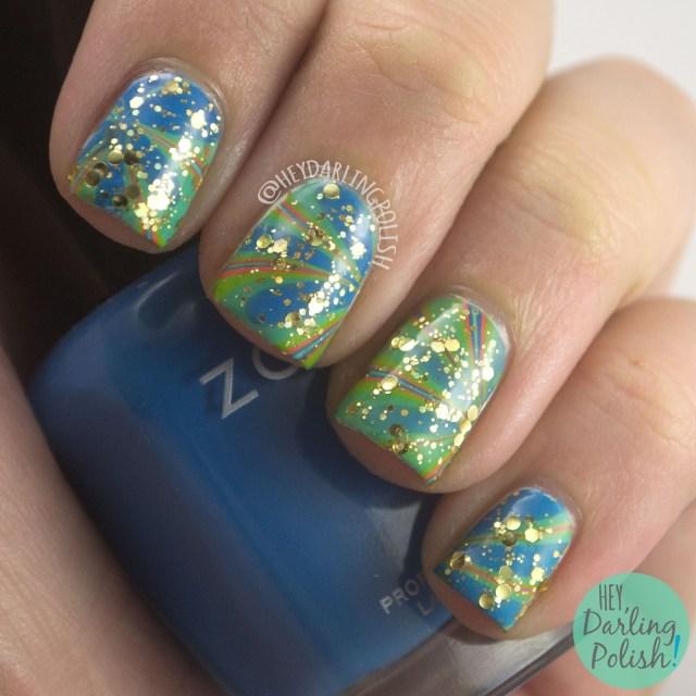 nails, nail art, nail polish, watermarble, marbling, hey darling polish, zoya, indie polish, glitter, theme buffet