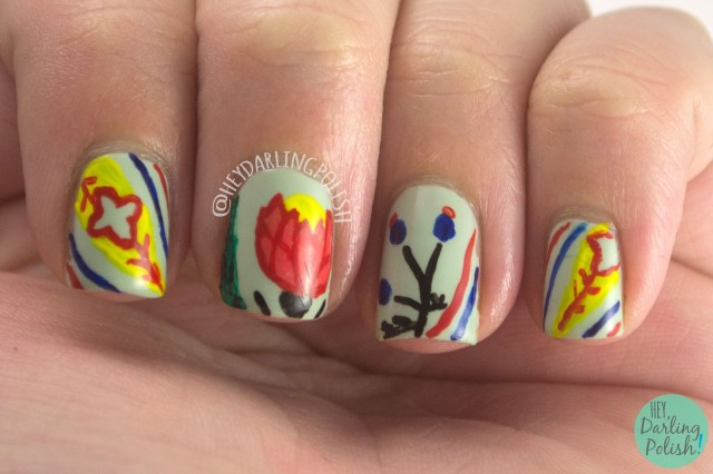 nails, nail art, nail polish, pattern, hey darling polish, 31 day challenge, 31dc2014, free hand