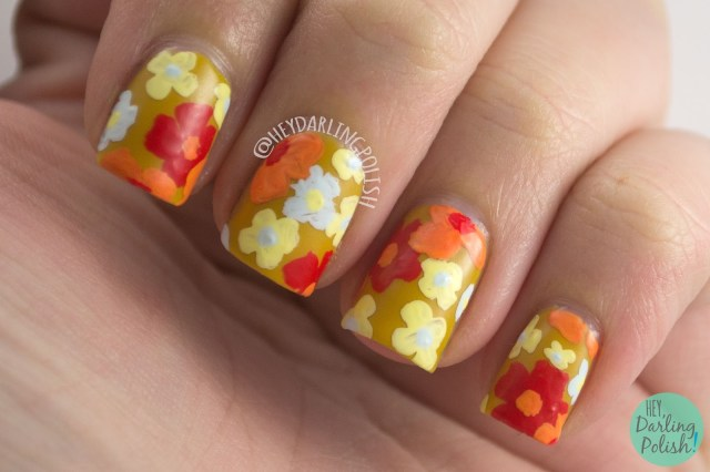 nails, nail art, nail polish, 60s, flowers, floral, flower power, hey darling polish, 52 week challenge, retro, vintage