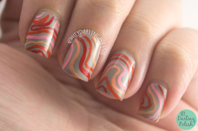 nails, nail art, nail polish, 70s, wavy, wavy stripes, hey darling polish, 52 week challenge,