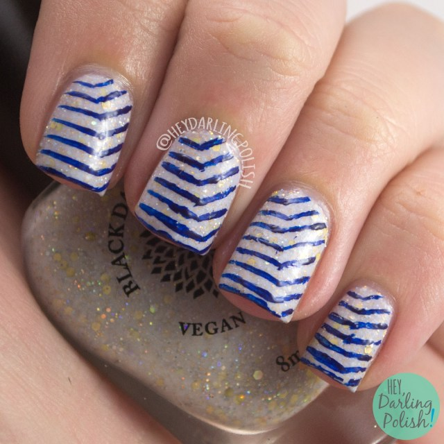 lines, blue, olaf's snowflowers, nails, nail art, nail polish, hey darling polish, black dahlia lacquer, indie polish