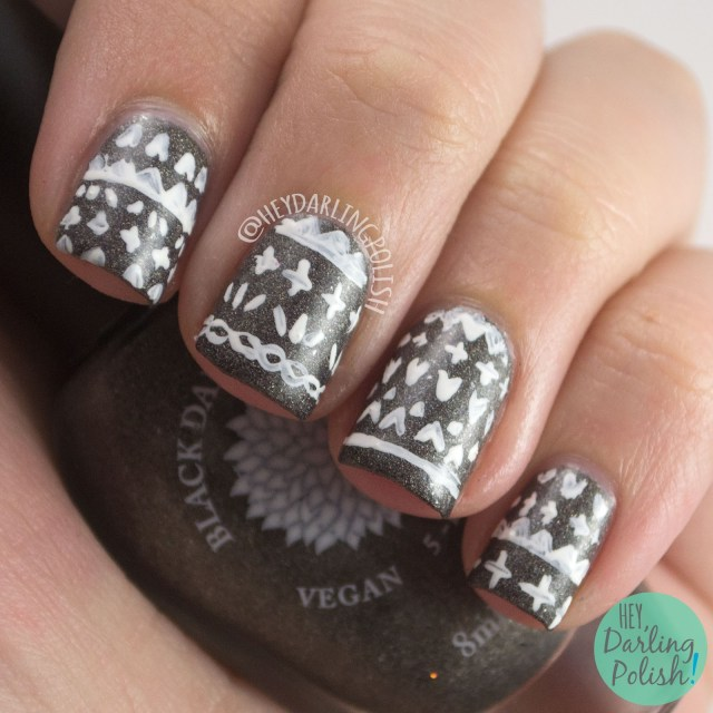 grey, dark charcoal grey, pattern, nails, nail art, nail polish, hey darling polish, black dahlia lacquer, indie polish