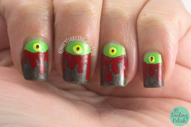 nails, nail art, nail polish, spooky, halloween, halloween nail art, eyes, drips, hey darling polish, naillinkup, nail art link up