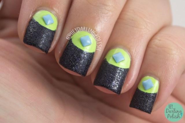 nails, nail art, nail polish, textured, studs, half moon, hey darling polish, naillinkup, green, blue,